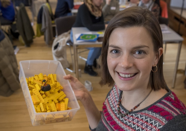 Gina with lego bricks - LEGO-based Therapy in Athens